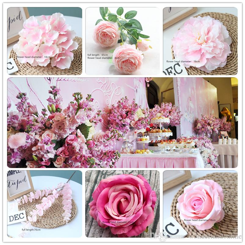 Pink Color Artificial Flower Wedding Rose Peony Hydrangea Plant Bridal Bouquet Wedding Decoration DIY Home Party Fake Flowers