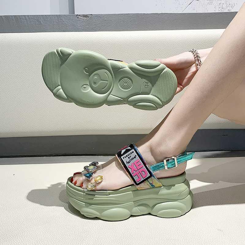 Verão Mulheres oito centímetros Training Platform Sandals Estudantes Outdoor Sandália Verde Esporte oito centímetros Meninas Wedge tênis para mulher