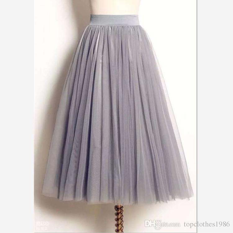 2019New Zarif Gazlı Bez Prenses Etek Moda Balo Etek kadın Lüks Kız Örgü Etek siyah beyaz gri Sml XL