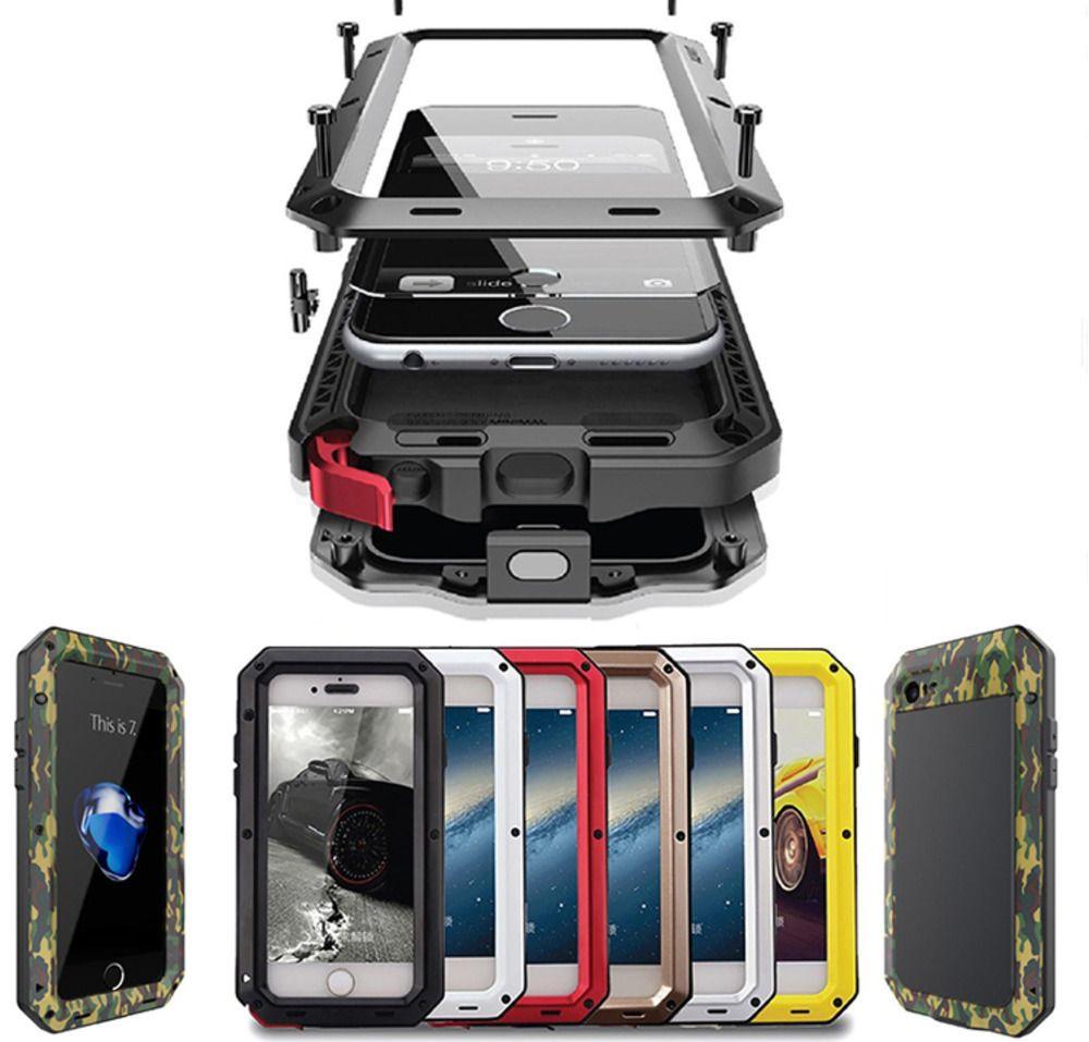 Роскошный металлический броня открытый противоударный алюминиевый чехол для iPhone X 7 6 6 s плюс 5 5S SE крышка водонепроницаемый чехол для телефона + экран фильм
