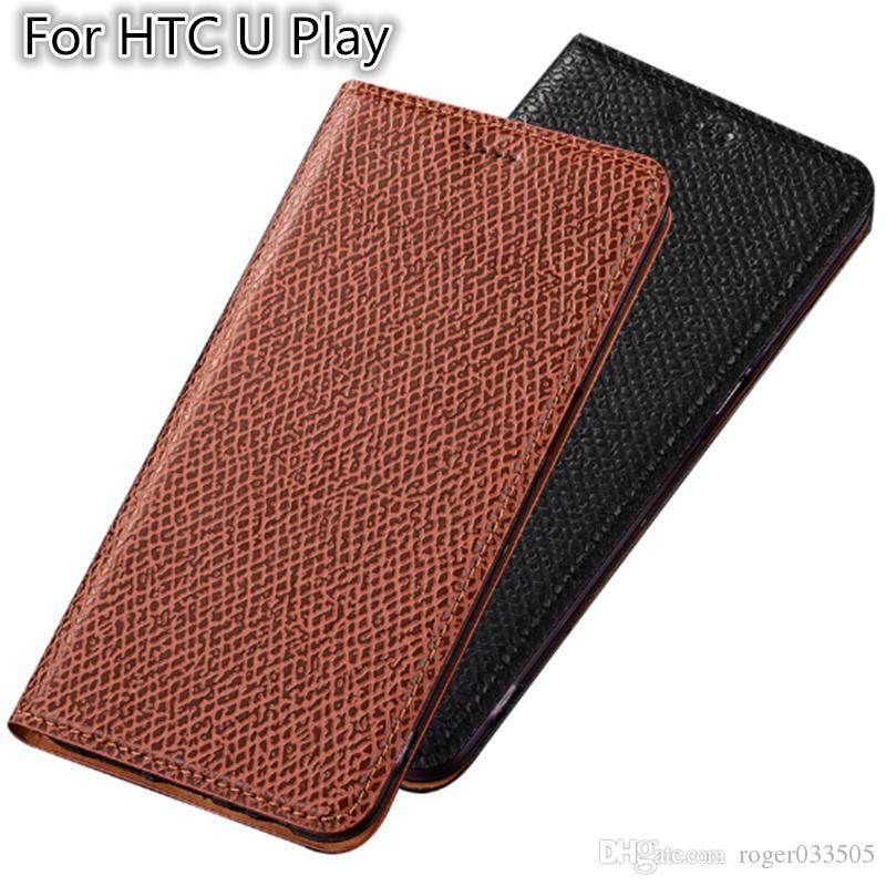 QX04 Funda magnética de cuero genuino para HTC U Play Estuche para HTC U Play Flip Case con ranura para tarjeta