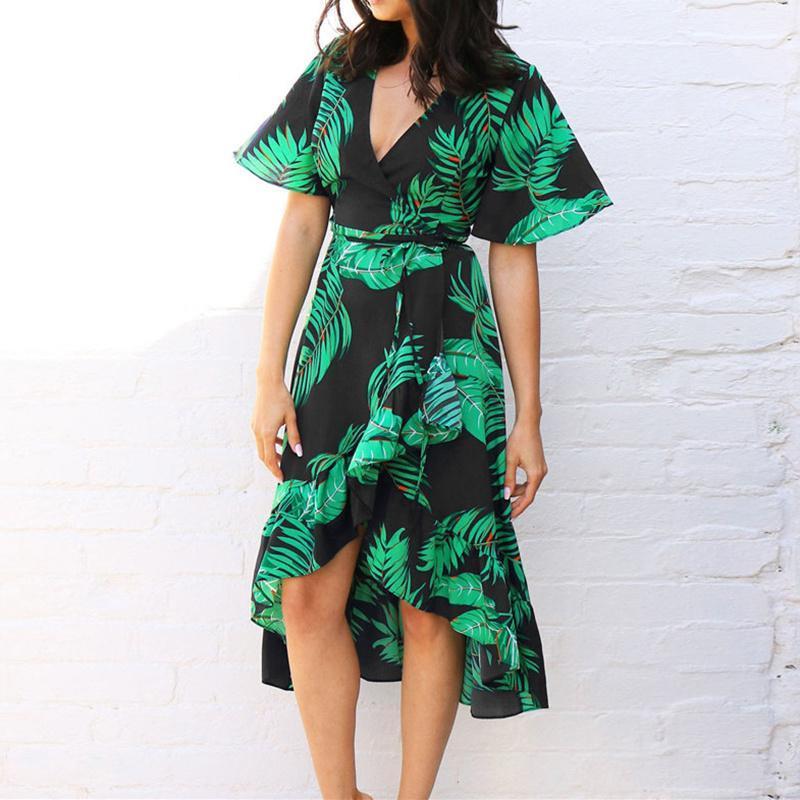 Stampa floreale Boemia dalla spiaggia del vestito 2020 donne estate abito da increspature casuale a maniche corte con scollo a V Party di chiusura Abiti Vestidos