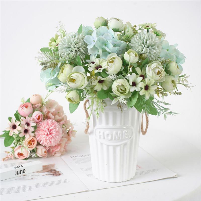 7 глав Гортензия Bud Гибридный цветы Искусственные цветочный букет Шелковый Цветущий Поддельный Bud Hand Flower Wedding украшения Y