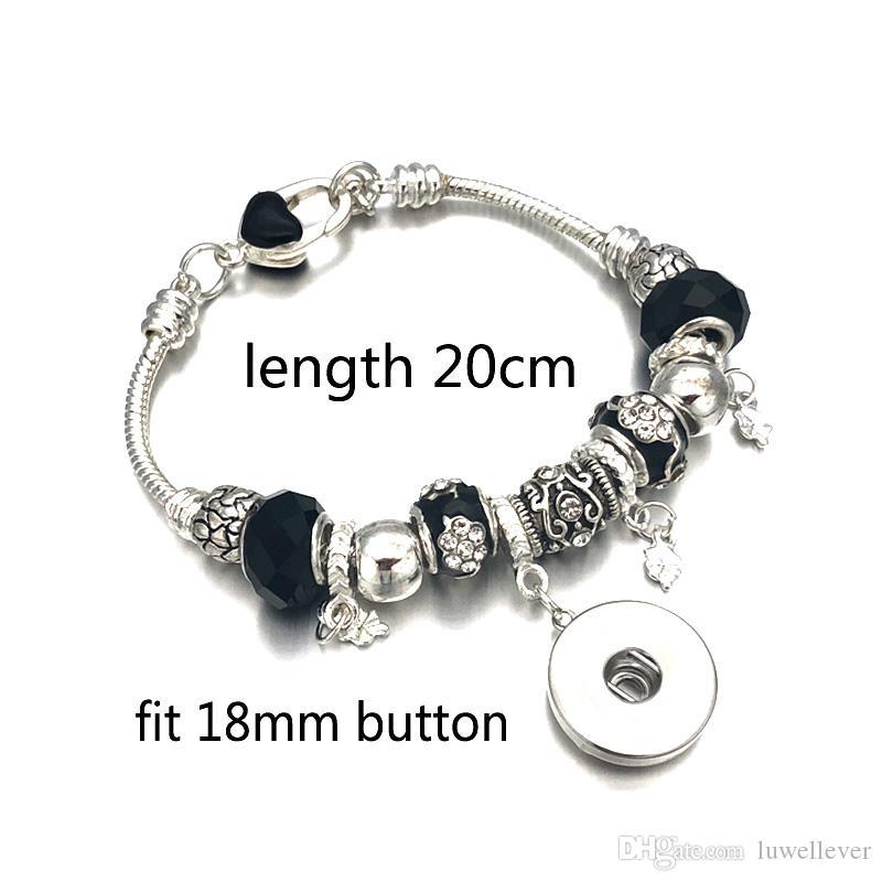 Luwellever Мода Серебряный кристалл бисера стекла Link браслет 328 18mm Snap кнопки Шарм браслет ювелирные изделия для женщин Подростков подарок