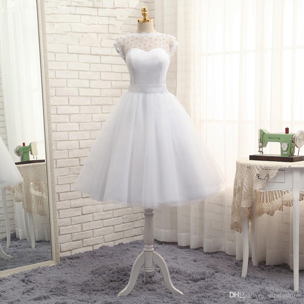 Sheer Scoop Neck Tulle Cocktail Dresses 2019 페르시 짧은 댄스 파티 가운 빈티지 무릎 길이 파티 드레스