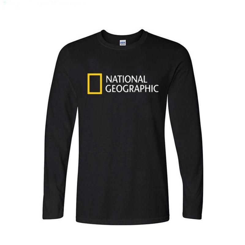 National Geographic Logo Тенденции дизайна Футболка мужская Топы Повседневная Длинные рукава Хлопок Смешной футболки T200219