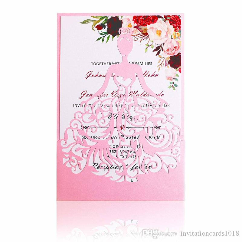 Compre 2019 Nuevas Tarjetas De Invitaciones Rosadas De La Princesa Heredera Del Corte Por Láser Para El Cumpleaños Sweet 15 Quinceanera Sweet 16th