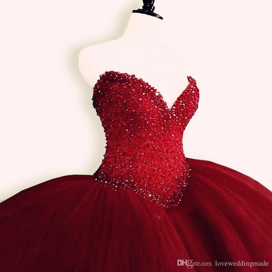 2019 vestido de festa de aniversário querida Top Beading Quinceanera Vestidos Burgundy Tulle Puffy doce 16 Bola Vestidos Red Quinceanera Prom Vestidos