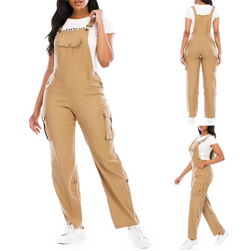 2020 Sonbahar Moda tulumları tulum Katı Renk Kadınlar Casual Cepler tulumlar Jumpsuit Kadın tulum ile Pocket Streetwear