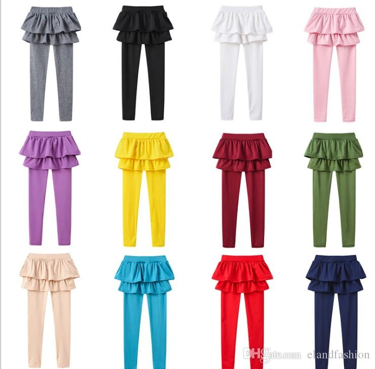 Fashion Girls Ins Korean Style Candy Color Cotton Leggings Childrens Clothing Autumn Kids Pretty Tutu Long Tights Solid Pencil Pants
