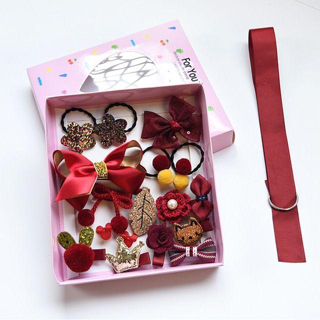 Carino per bambini Accessori per capelli Gioielli Set Gift Box gomma tornante all'ingrosso