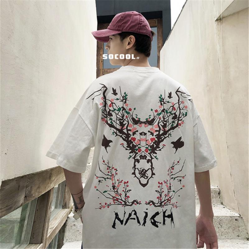Мужские футболки корейский стиль 2021 летний повседневный с коротким рукавом мультфильм олень напечатаны футболки для мужского хип-хопа Человек уличные вершины
