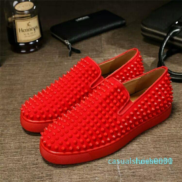 Designer de luxo Red Loafers inferior para homens mulheres Deslizamento de couro genuíno On Wedding Party Platform Casual Sneakers Spikes Flats Homens l30 Shoe