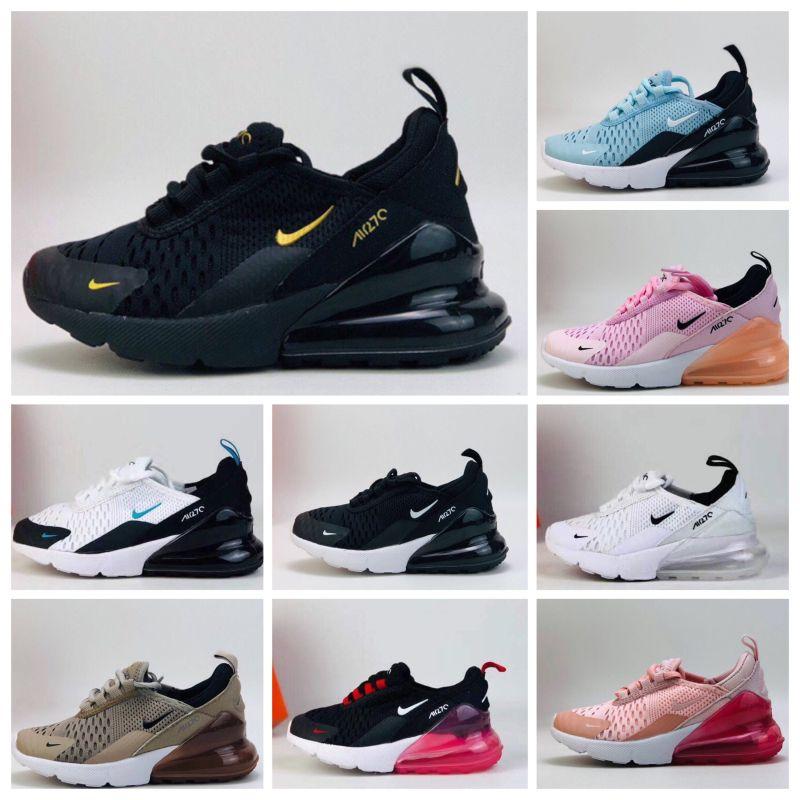 Nike air max 270 2020 Детская Обувь Детская Мальчики Девочки ребенка 1white Полночь Navy кроссовки Малыши День рождения Подарок качества топ size22-35