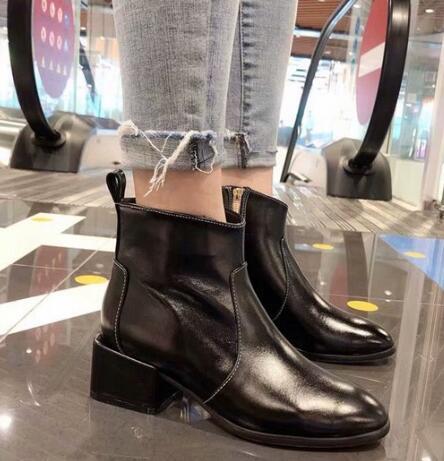 Hot Sale-Marca Chan Womens Winter Snow Cavaliere caviglia 100% vera pelle Calzature stivali calza il formato 35-40