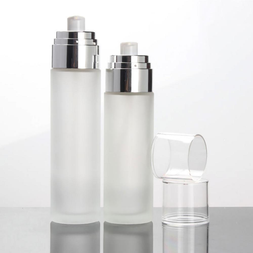 الجملة 4oz سعرنا زجاجة واضحة مضخة محلول بلوري، زجاجة الزجاج الجولة التجميل seum مع غطاء من البلاستيك وطوق الألومنيوم