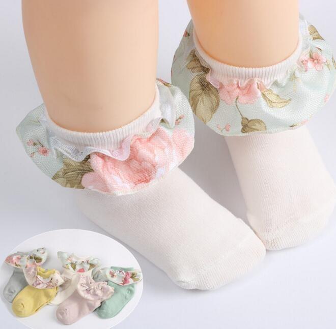 5 colores Baby Girl Calcetines New Larrivals 100% algodón Flor Ruffles Design SOCK NIÑOS Cómoda Cómoda Calidad Princesa Calcetines Tamaño 1-12T