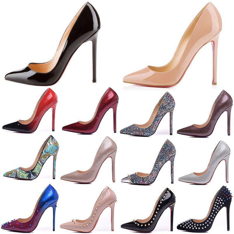 Mode de luxe de femmes Robe rouge Chaussures Bas Hauts talons 12CM Alors Kate Rose noire en cuir verni bout pointu Marque Avec clouté De Spike