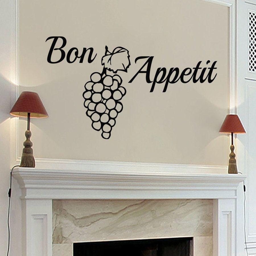 Muro Bon Appetit uva adesivo removível vinil criativa decalques Home Decor Waterproof Sala de jantar Kitchen Art Mural