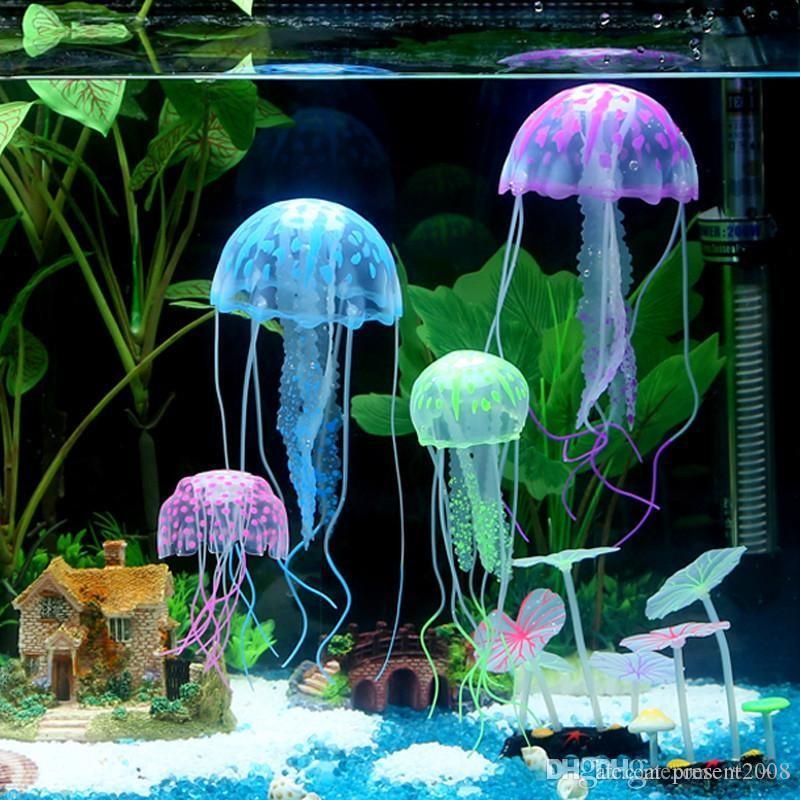 2019 Glowing Effect Artificial Jellyfish Fish Tank Aquarium Decoration Mini Submarine Ornament