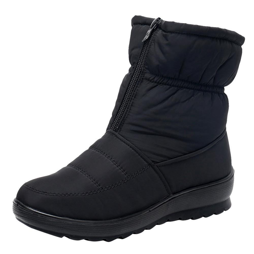 Zapatos al aire libre botas de invierno snowboots señoras de las mujeres Zapatos de invierno resistente al agua caliente cortos de la nieve Botas Calzado cremallera calientes