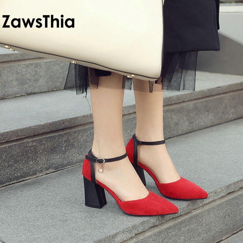 ZawsThia 2020 Chaussures femme bombas bloque abrigo del tobillo de tacones altos zapatos de las señoras perlas de verano sandalias de las mujeres sandalias de mujer 33-46