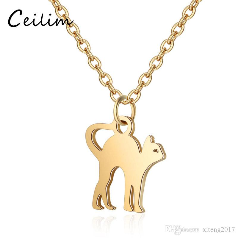 New Fashion 316L Stainless Steel Cute Cat Pendant Necklace For Women Men Simple Design Pet Cat Charm Gold Silver Chain Necklaces Jewelry