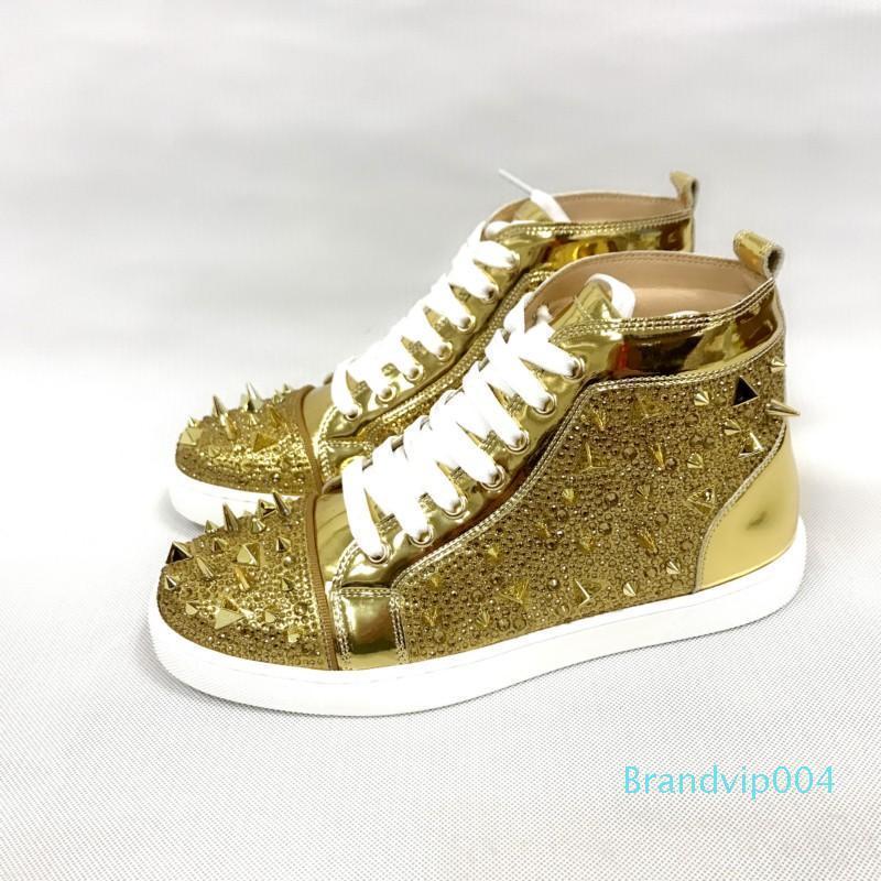 Altın Deri Kırmızı Tasarımcı Ayakkabı Yüksek Kesim Spike İnek Sedue buzağı Sneaker Lüks Parti Düğün Ayakkabı Hakiki Deri Ayakkabı C14 Spike