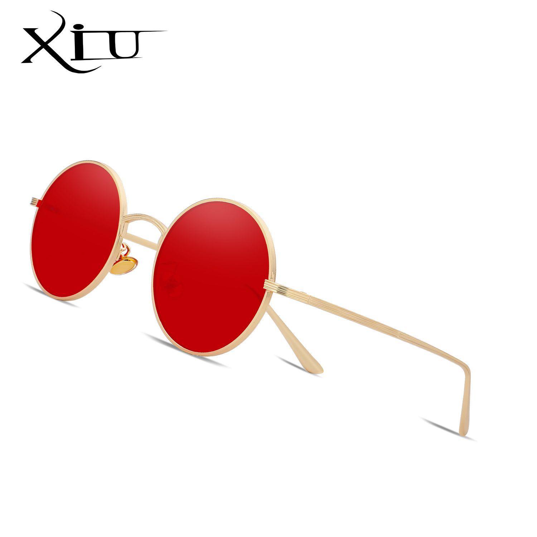 XIU 2018 Nueva marca de diseño de la Ronda Las gafas de sol de la vendimia para hombre de gafas de sol gafas de moda de los hombres de lujo de calidad UV400