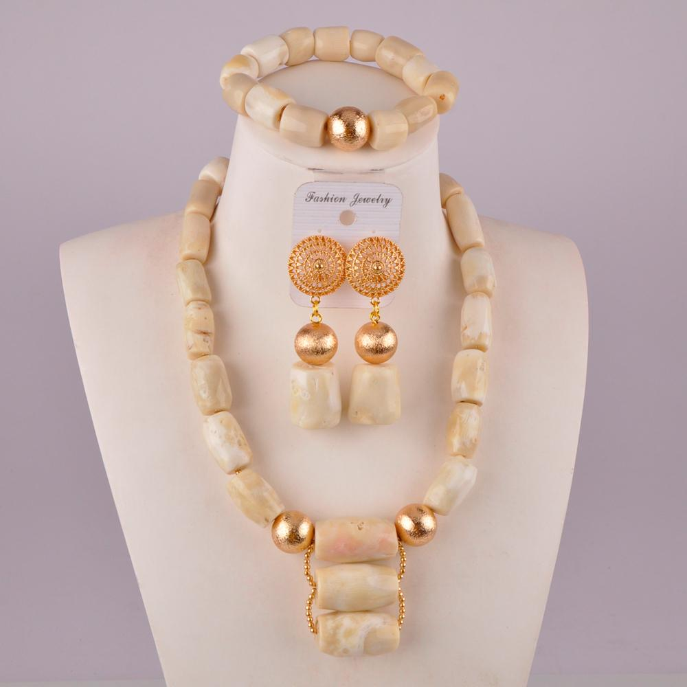 natural white coral jewelry set african wedding beads nigeria coral beads jewelry sets for women 19-C-01 T200507