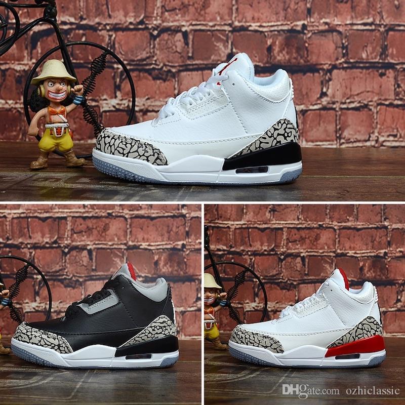 Nike Air Jordan 3 2019 New Jumpman 3 noir ciment vrai bleu ciment blanc sport loup infrarouge bleu gris enfants chaussures de basketball pour enfants chaussures baskets