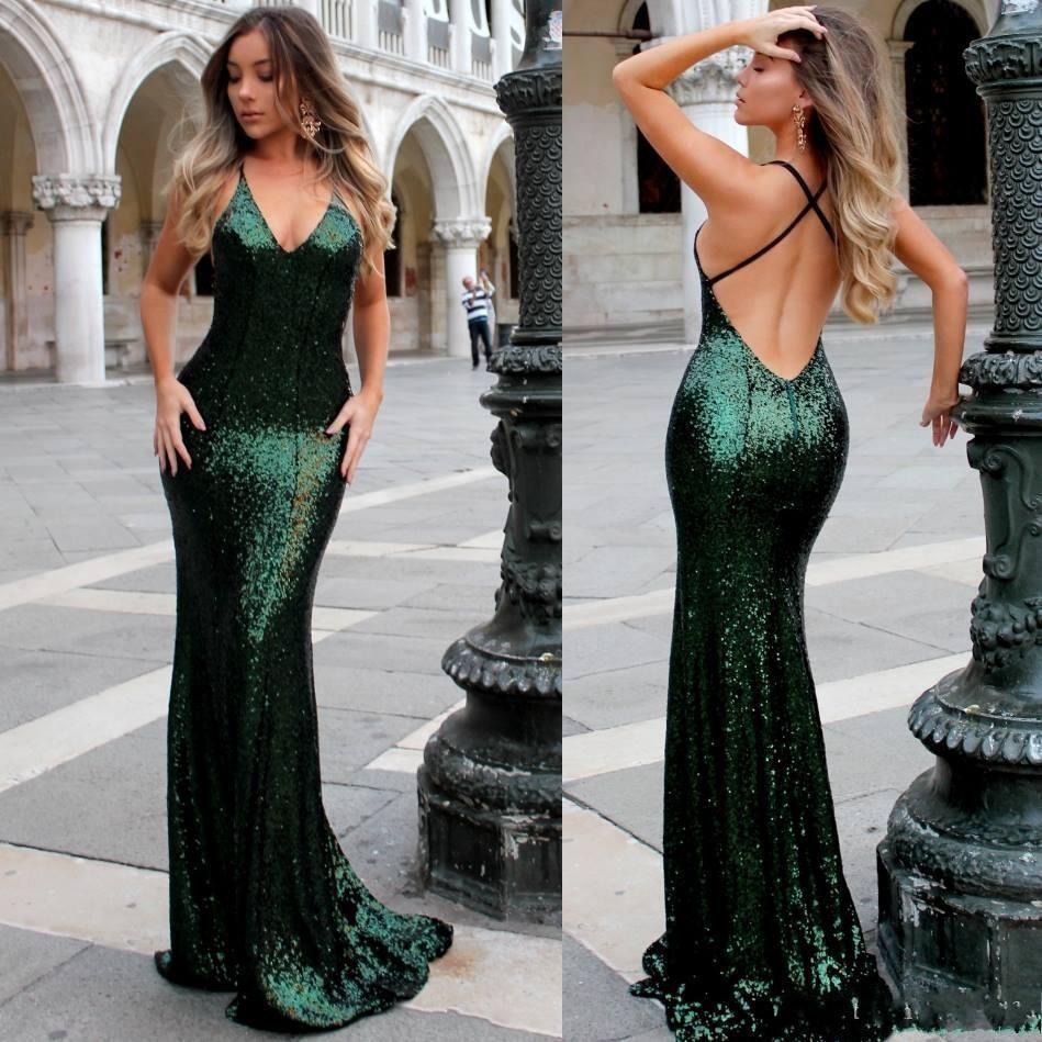Grüne Sequined Mermaid Abendkleider 2019 Criss Cross Straps Backless Sweep Zug Arabisch lange formale Abschlussball Roter Teppich Kleider Günstige Plus Size