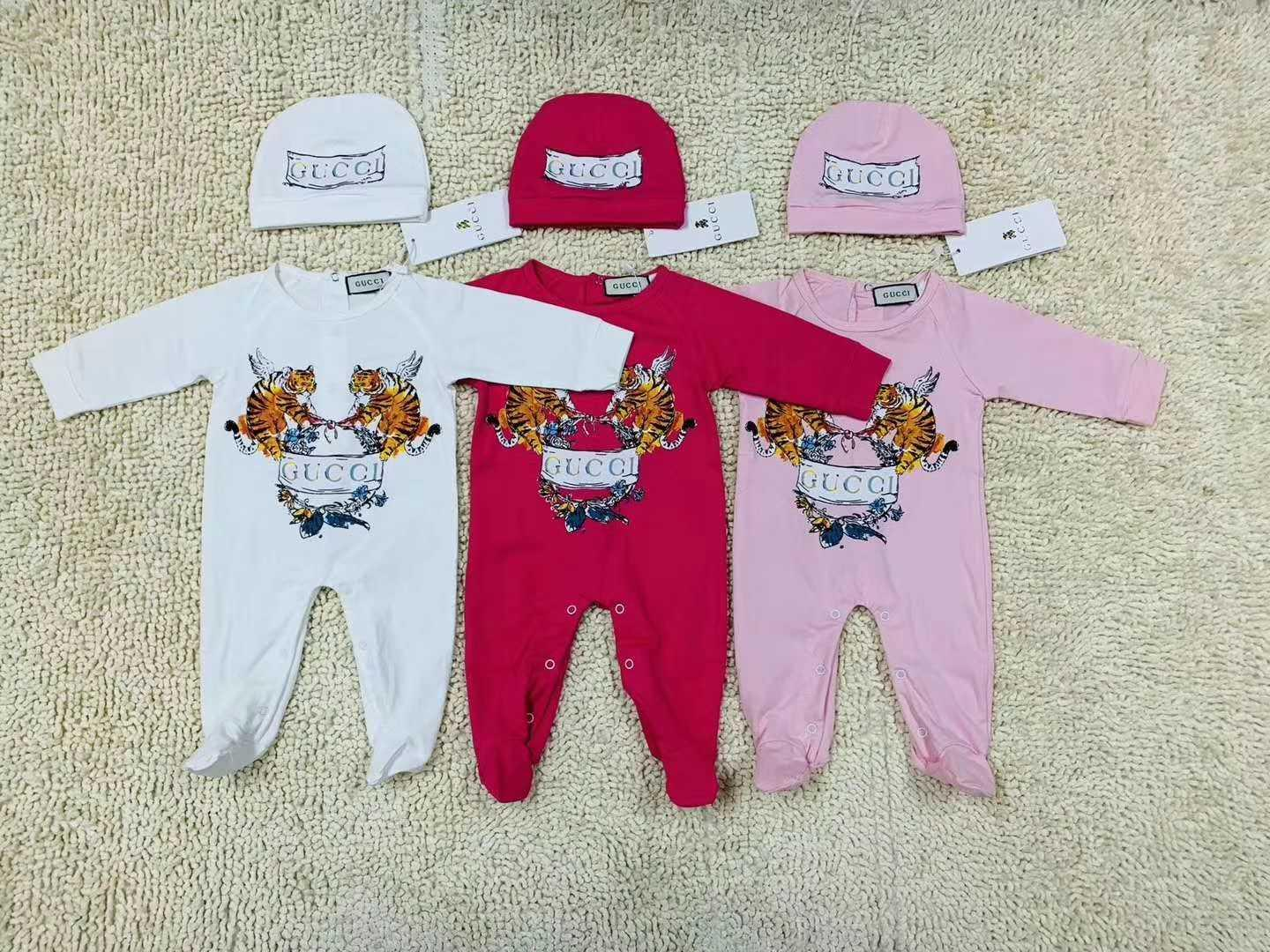 New Baby Boy Girl Rompers Jumpsuit Long Sleeved Infant Jumpsuit+Hat Outfit Kids Newborn Baby Clothes for free shipping