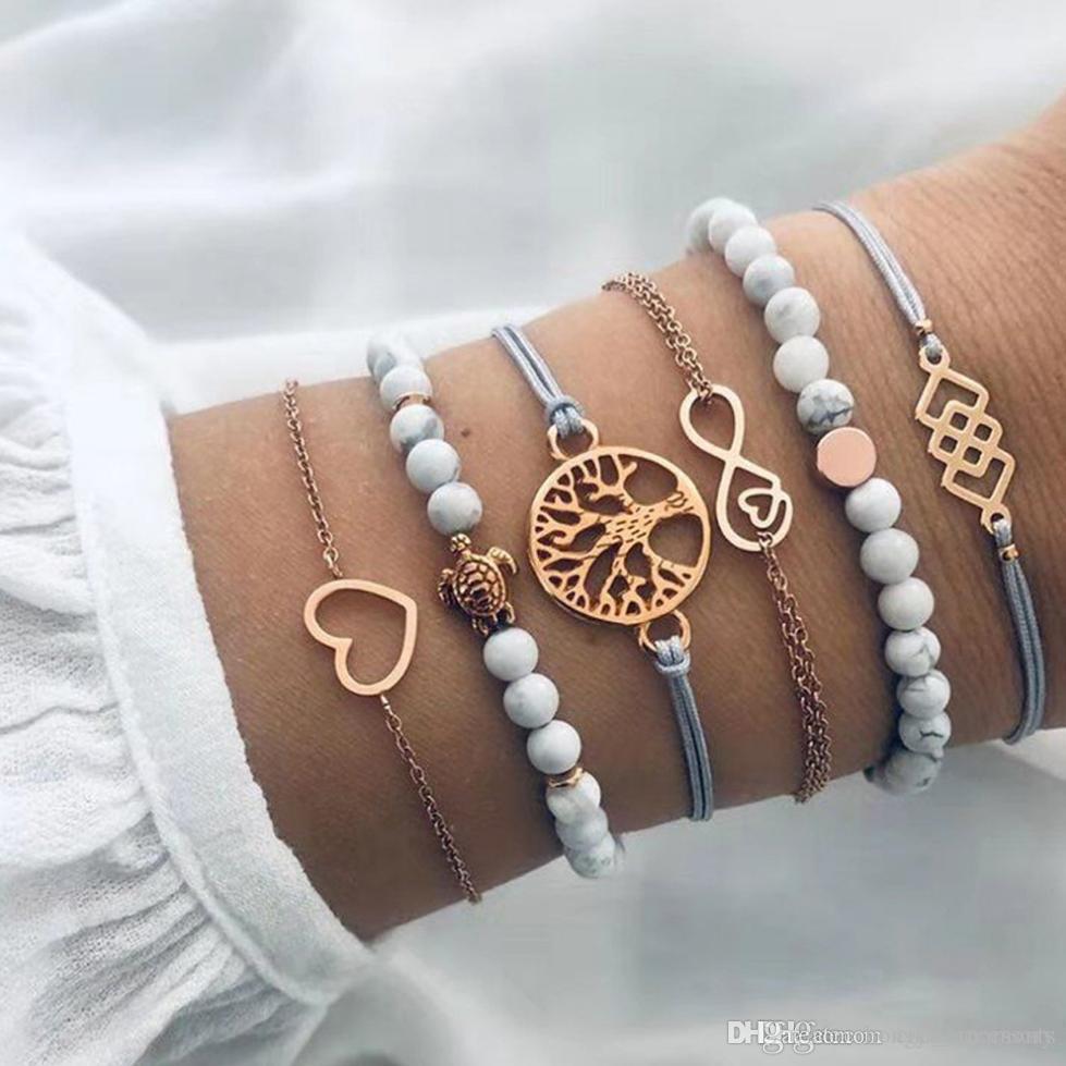 Gioielli braccialetto set 6pcs / Amore cuore albero accessorio rotondo di sferette di vetro fili con il colore catena di metallo placcato oro