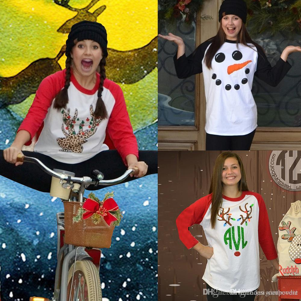 عيد ميلاد سعيد المرأة بلايز عطلة سانتا كلوز الغزلان الثلج مطبوعة القمم لطيف