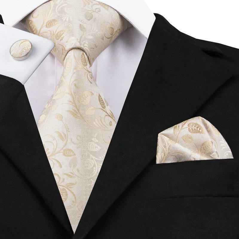 SN-1167 bejler Çiçek Tie Hanky Kol Düğmeleri erkekler Örgün Düğün Parti 2020 için erkek% 100 İpek Kravatlar ayarlar