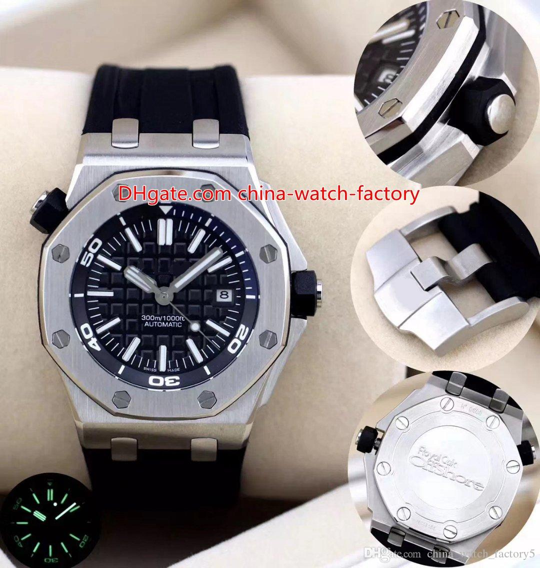 8 Style Hot Selling Alta Calidad 42mm Offshore Diver 15710 15703 15703st.OO.A002CA.01 Bandas de goma Mecanical Automatic Mens Watch Relojes