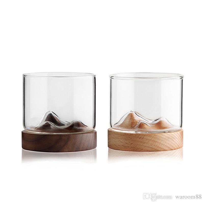 Whisky copa de vino Montaña inferior de madera del vino irlandés taza transparente del vidrio para las herramientas de whisky Vino Vodka Bar Club Scotch amante regalo único