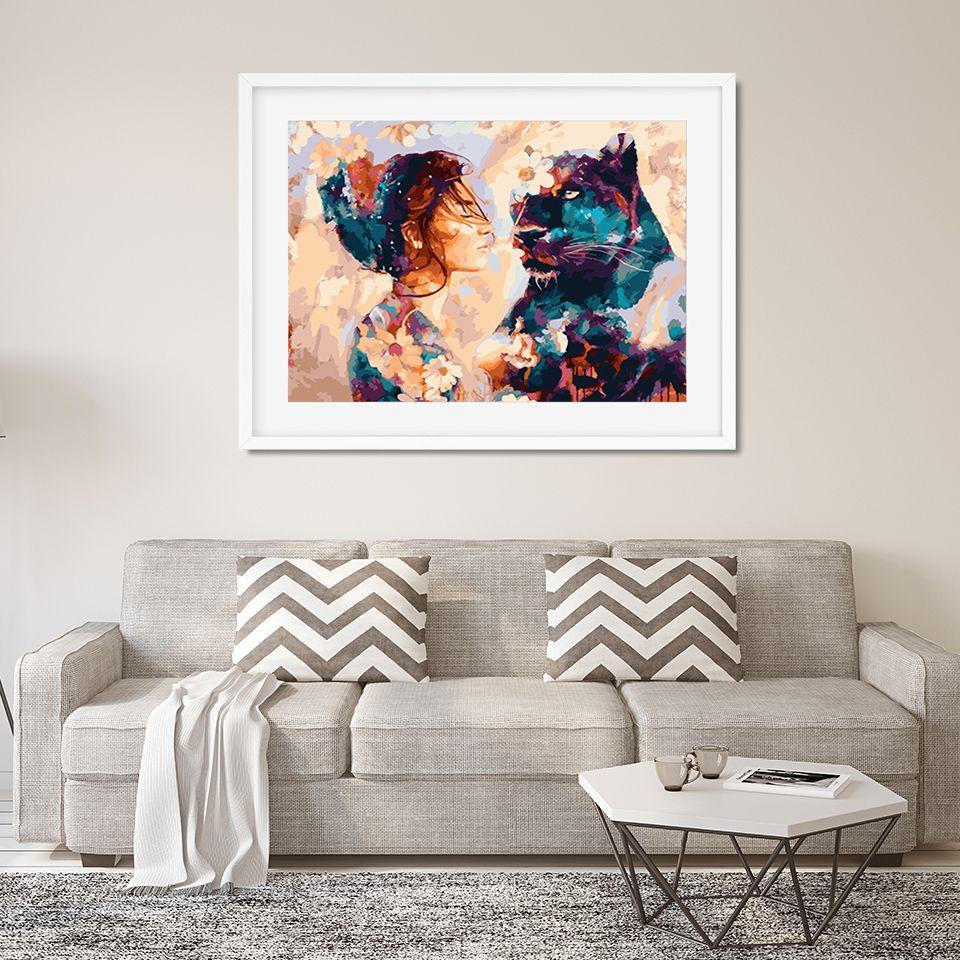 Pittura AZQSD fai da te Leone incorniciato dell'olio della ragazza da Numbers adulti di vernice colorata parete di illustrazioni per Living Room Decor