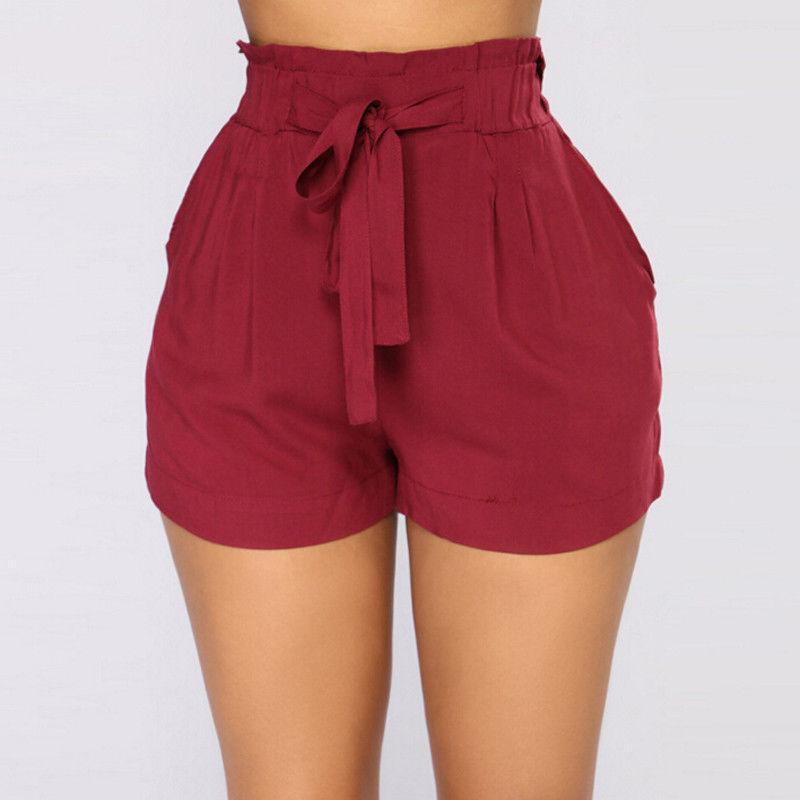 Women Bow Beach High Waist Short Three Colors Hot Sale Summer Casual Loose Shorts Trousers Plus Size S-XXL