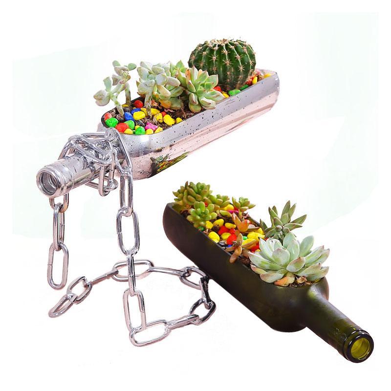 Creative Cutting Wine Bottle in Half Planter Glass Terrarium Flower Pot for Succulent Cactus Air Plant Alcohol Gifts