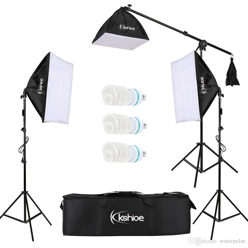 "Professional Photo Studio Studio Soft Box Lights Kit di illuminazione continuo 3x65W 5000K Bulbs 24 ""x24"" Softbox 86 ""Banco luminoso Baskeing Borsa USA Ship"