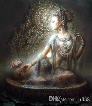 Chinese Dunhuang Kwan-yin goddess Handcrafts /HD Print portrait Art Oil painting On canvas,Multi sizes /Frame Options DH060 200315