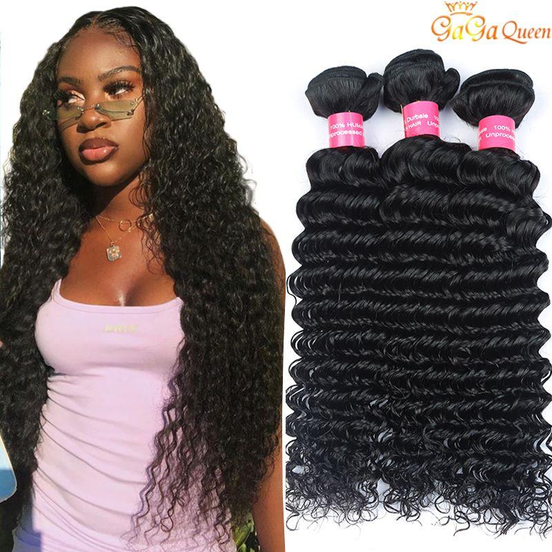 9A Brésilien Deep Wave Cheveux Vierge Non transformé Brésiliens Humains Humains 3 Bundles Coiffaires Curly Deep Profond