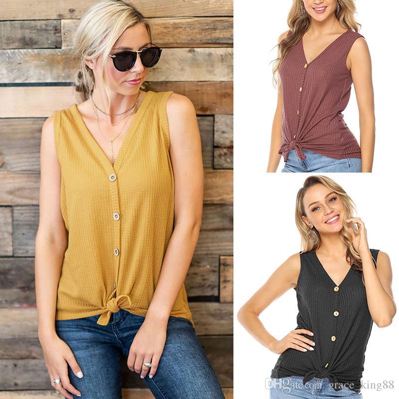 Sleeveless ladies T-shirt For Summer Autumn V-Neck Button Women's T-Shirt For Girls blouse Slim S M L XL Black Yellow Dark red