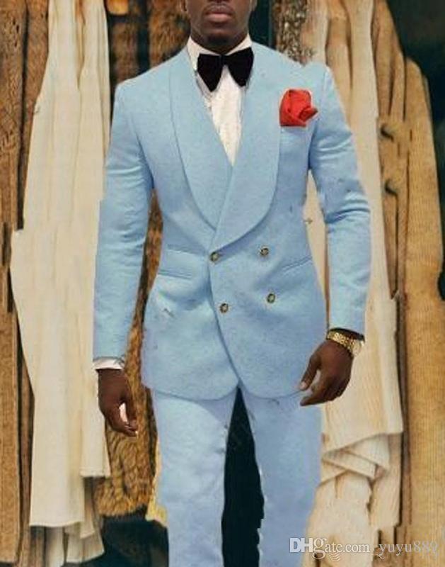 Светло-голубые мужские свадебные смокинги с тиснением для жениха Мужские модные блейзеры 2 шт. Костюм для выпускного / ужин на заказ (куртка + брюки + галстук)