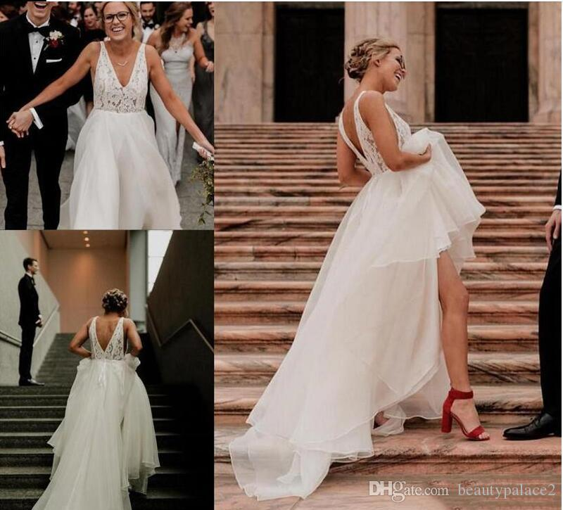 Custom Made Bohemian Lace Chiffon Wedding Dresses Deep V-Neck Backless Summer Beach Mariage Gowns With Beaded Sash Country Style