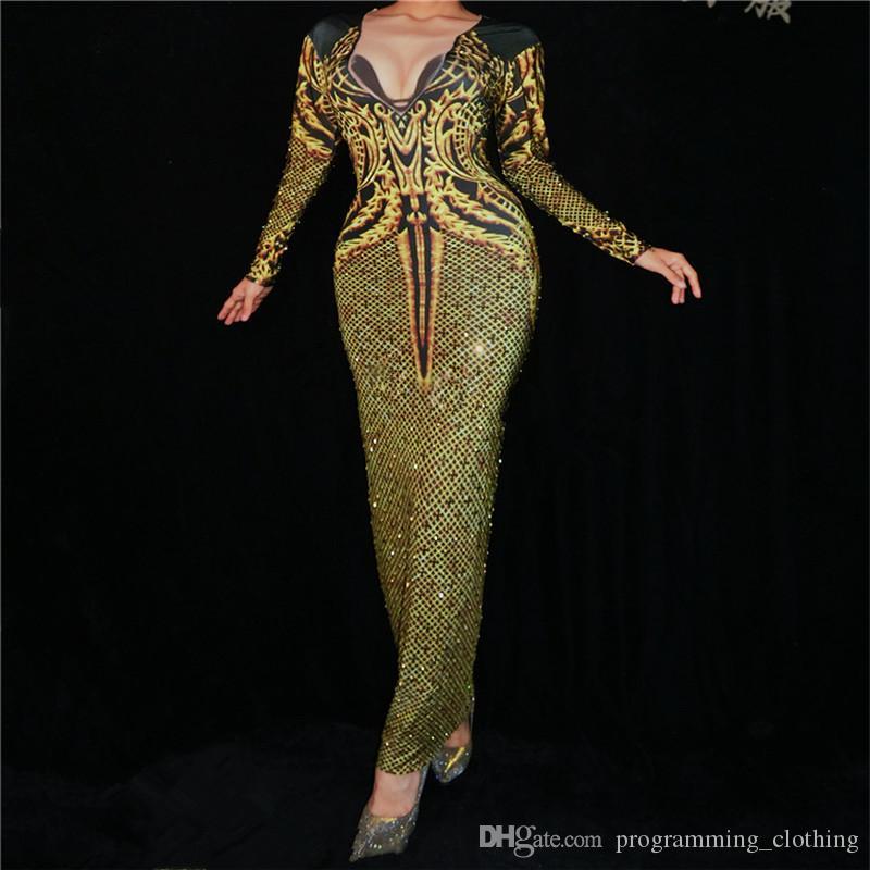 K29 impressão de ouro Preto Rhinestone Siamese Hip Saia Singer desempenho vestidos apertados salão bodysuit trajes de dança dj veste bar rave music