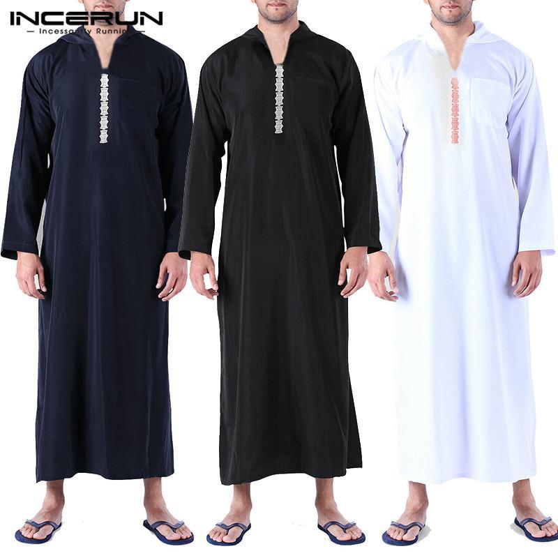 INCERUN Men Islamic Arab Muslim Kaftan Abaya Hooded Long Sleeve Loose Robes 2019 Saudi Arabia Dubai Jubba Thobe Men Caftan