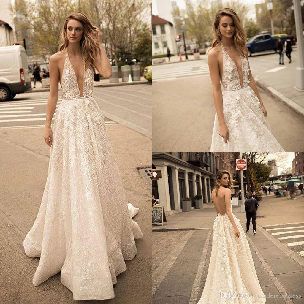 2019 Berta Designer Boho Beach Wedding Dresses Deep V Neck Bling Sequins Beading Sexy Backless Bridal Gowns